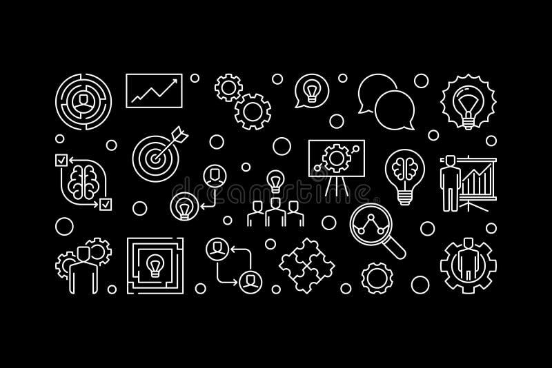 Business Solutions vector outline illustration or banner stock illustration