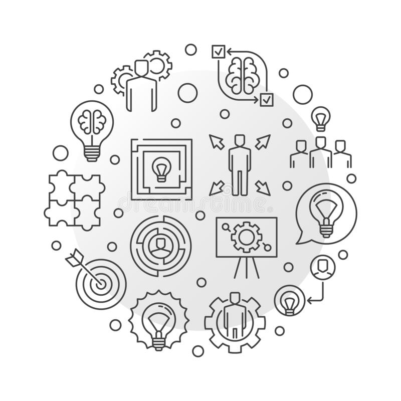 Business Solutions vector outline round illustration stock illustration