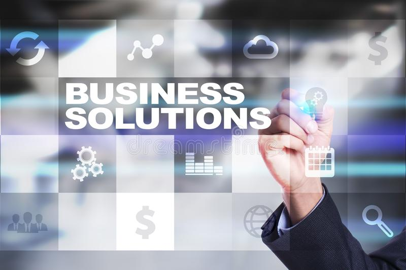 Business solutions on the virtual screen. Business concept. Business solutions on the virtual screen. Business concept royalty free stock image