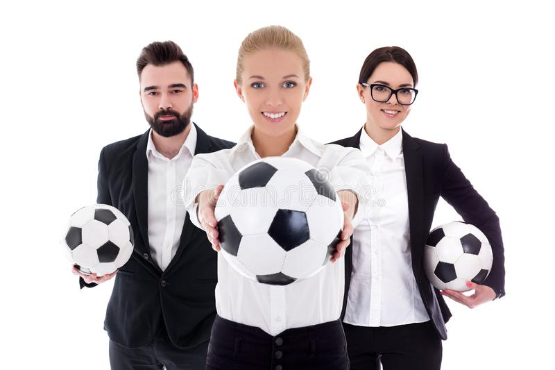 Business and sport concept - young business people with soccer balls isolated on white royalty free stock image