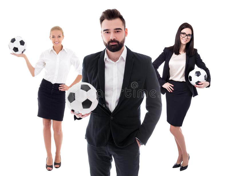 Business and sport concept - young business people in business suits with soccer balls isolated on white royalty free stock photo