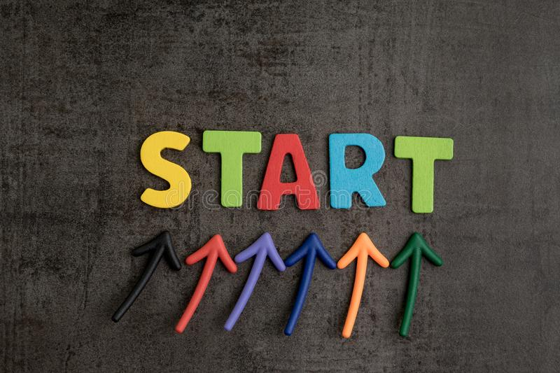 Business start begin the journey concept, colorful arrows point royalty free stock images