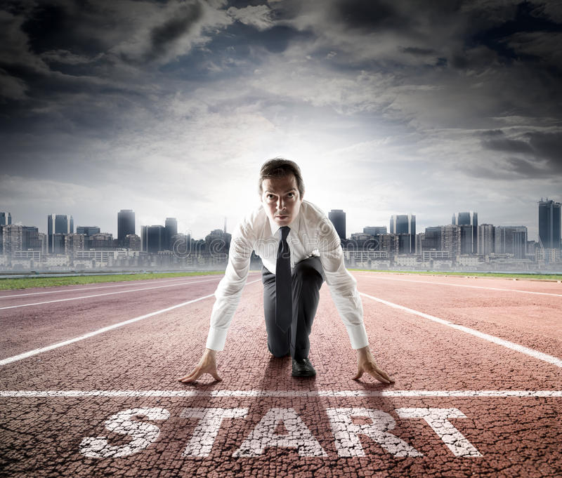 Business start - businessman ready for competition stock image
