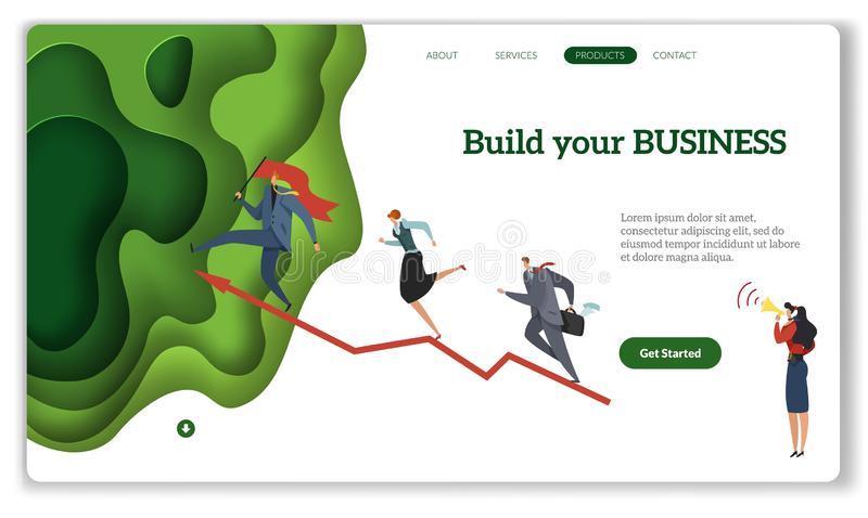 Business start landing. Build your business modern startup concept, internet website or mobile apps with header flat stock illustration