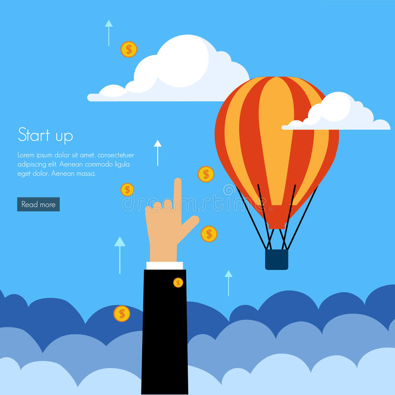 Business start press flat design royalty free illustration