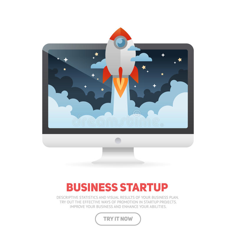 Business start up concept template with realistic monoblock PC. Business start up concept template with realistic desktop monoblock PC and flat cartoon rocket stock illustration