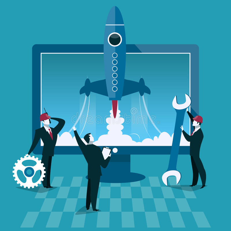 Business start up concept vector illustration. Rocket launch and computer on background. Businessman start new company.  vector illustration