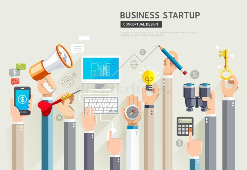 Business start up conceptual design. Set of business hands services. Vector Illustrations. vector illustration