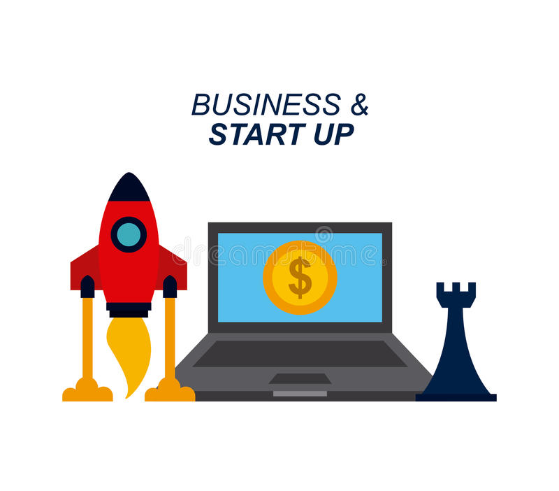 Business and start up design. Rocket, rook and laptop computer icon over white background. business and start up concept. colorful design. illustration royalty free illustration
