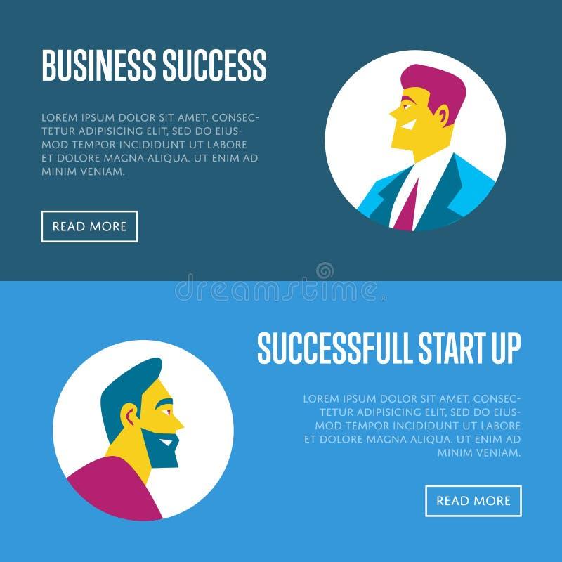 Business start up horizontal website templates. Business start up website templates with businessmen round avatar icons on blue background, vector illustration royalty free illustration