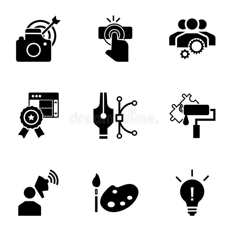 Business start up icon set, simple style royalty free illustration
