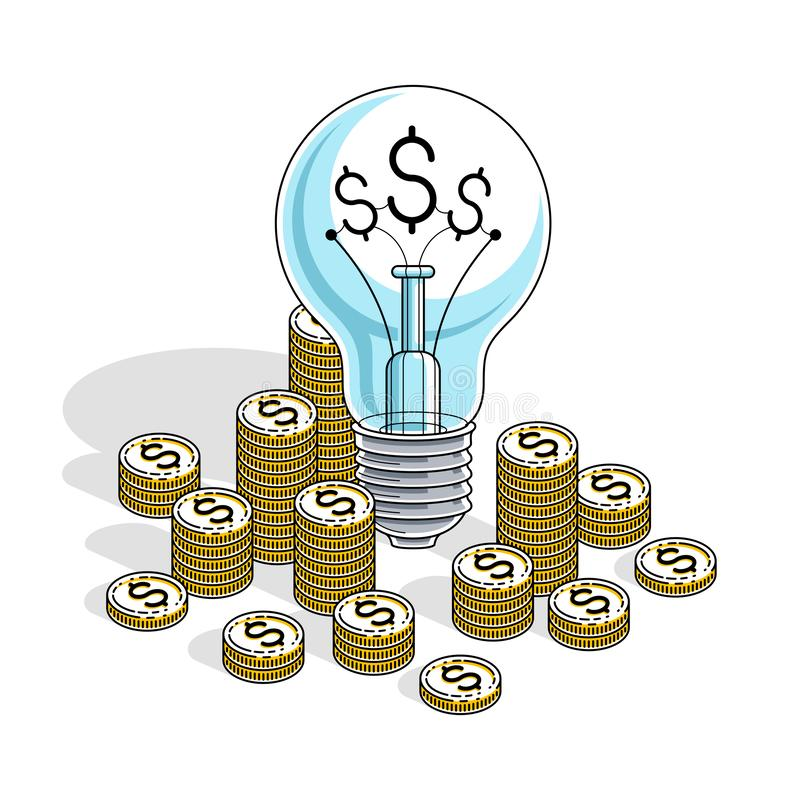 Business start up Idea concept, Light Bulb with cash money stack and coins piles. Isometric vector business and finance royalty free illustration