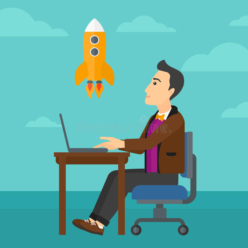Business start up. A man sitting at the table in front of laptop and looking at a flying rocket on the background of blue sky vector flat design illustration stock illustration