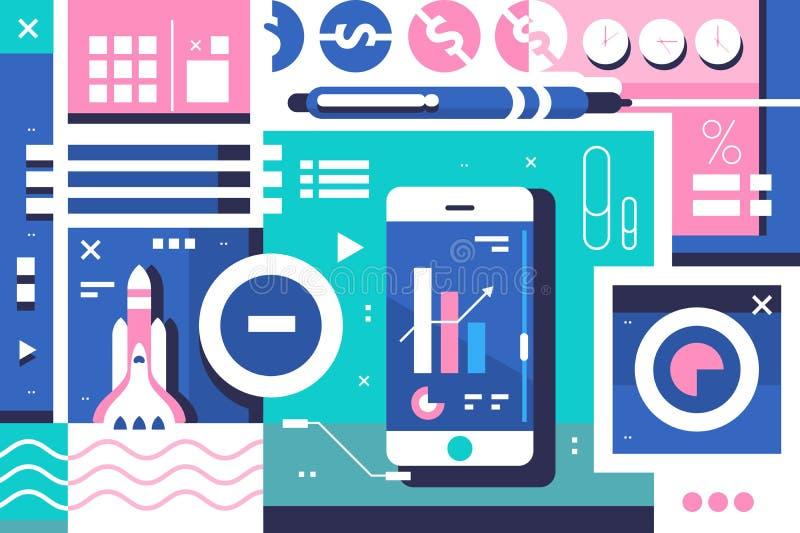 Business startup background vector illustration