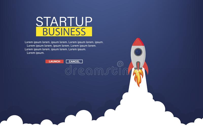 Business startup banner with rocket. Rocket in space. Business background. Vector stock illustration