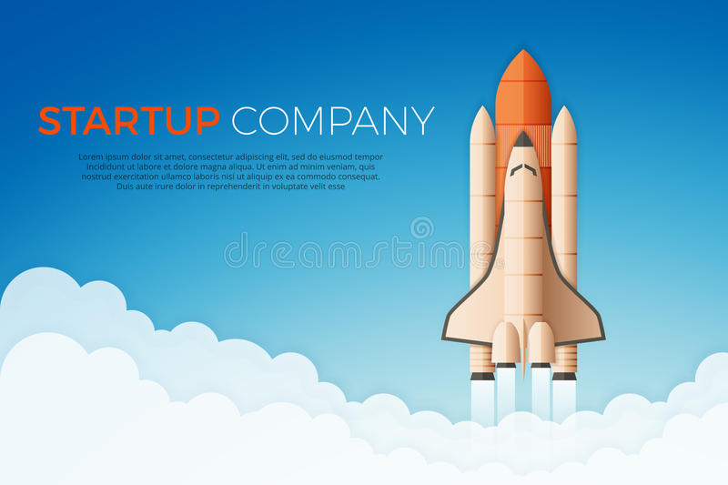 Business startup concept. Rocket or space shuttle launch. Vector illustration stock illustration