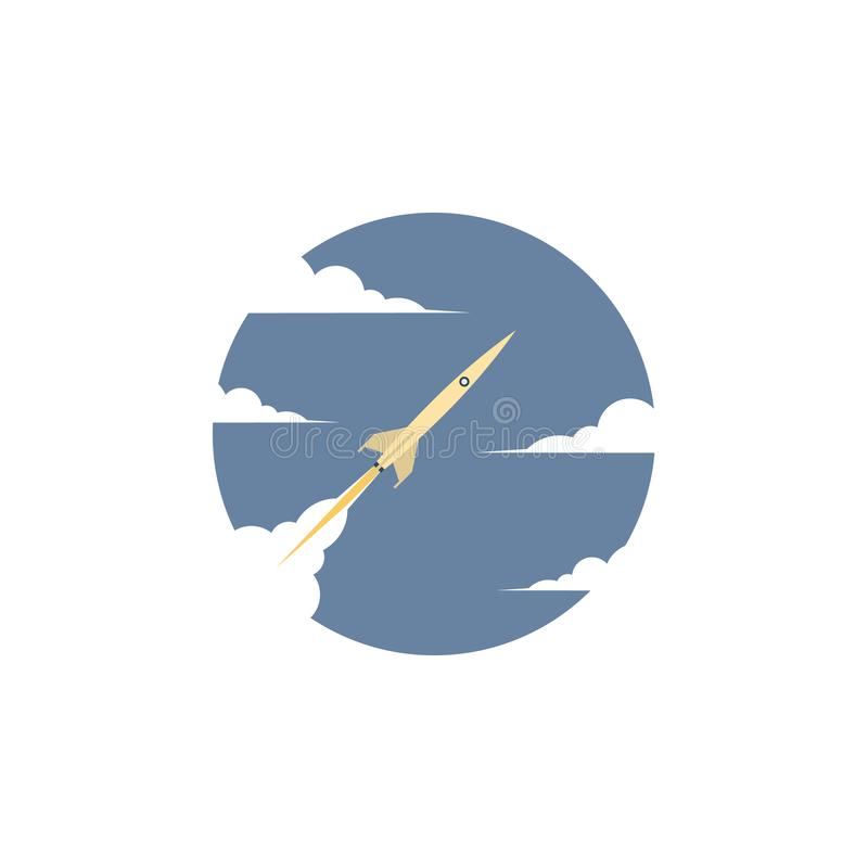 Business startup concept vector with sleek rocket or spaceship symbol flying through the clouds. stock illustration