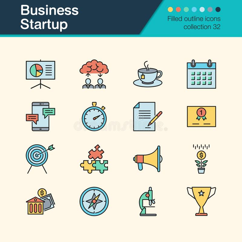 Business Startup icons. Filled outline design collection 32. For royalty free illustration