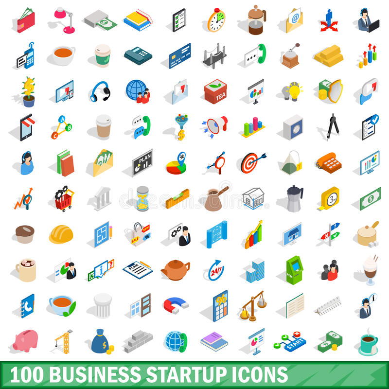 100 business startup icons set, isometric 3d style royalty free illustration