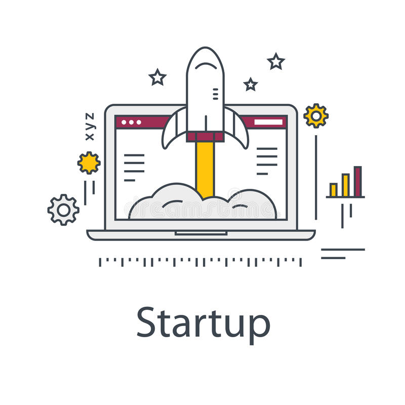 Business Startup illustration. Rocket and laptop. Line vector icon. royalty free illustration