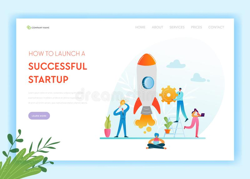 Business Startup Landing Page Template. Investment, Career Boost and Strategy Banner with Business People Characters royalty free illustration