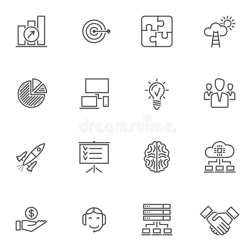 Business startup line icons set. Linear style symbols collection outline signs pack. vector graphics. Set includes icons as startup rocket, business people royalty free illustration