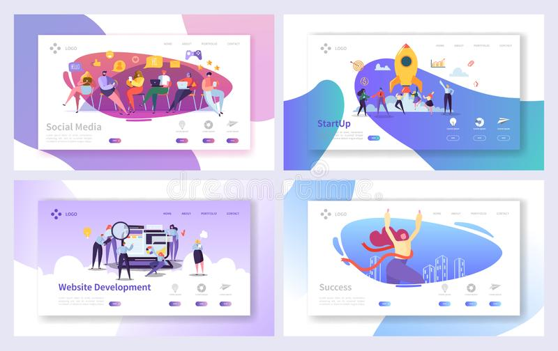Business Startup Marketing Landing Page Development Set. Rocket Technology for Project Seo Advertising. Social Media. Business Startup Marketing Lnding Page vector illustration