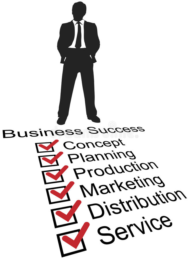 Business startup success product checklist royalty free illustration