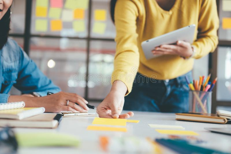 Business Startup Teamwork Brainstorming and Education concept. stock photo