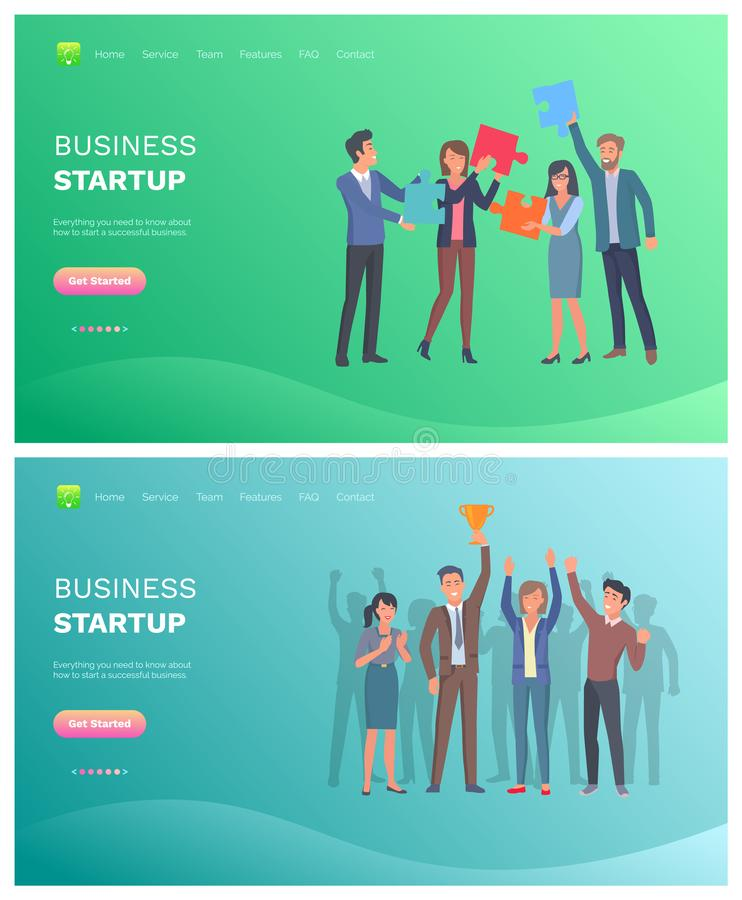 Solution to Problem and Business Startup Vector. Business startup, teamwork of solution to problem and company success, puzzle and golden award. Employees vector illustration