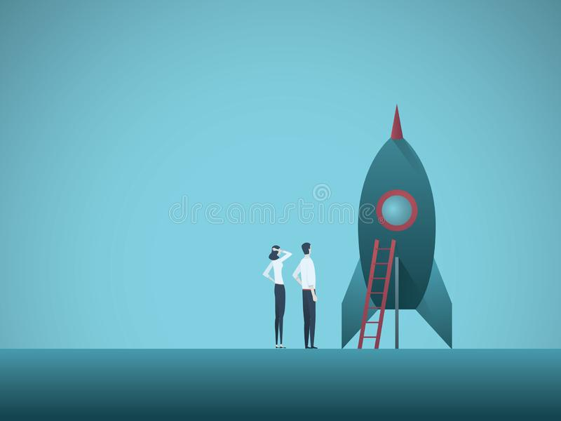 Business startup vector concept with business woman and man standing next to a rocket. Symbol of new business royalty free illustration