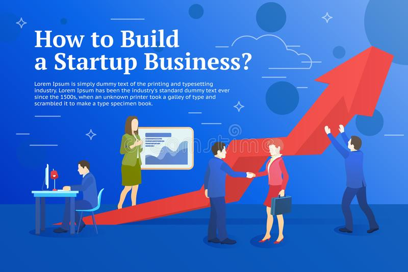 Business startup work moments flat banner. Business process and project management. New ideas, search for investor, increased prof stock illustration