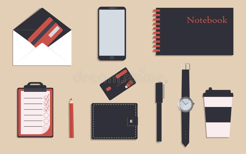 Business stationery in corporate identity trendy colors.To do list and notebook.Pencil and pen. A wallet. Wrist watch.Credit cards royalty free illustration