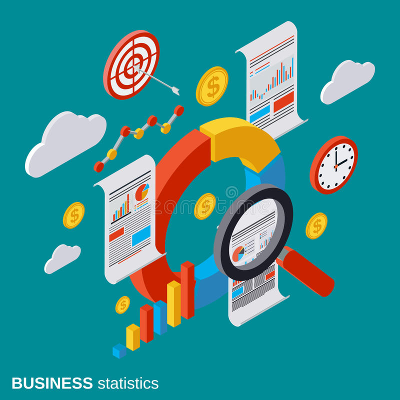 Business statistic, analytics, financial audit vector concept stock illustration