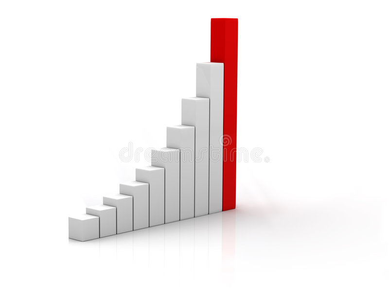 Business statistics. 3d business statistics in white background with reflection on floor