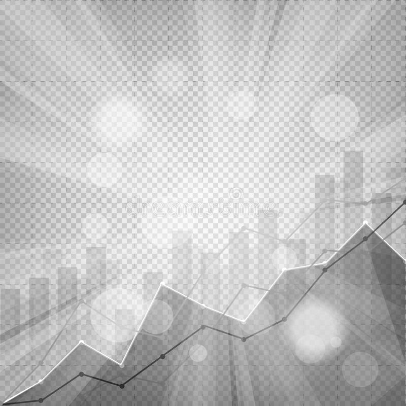Business statistics chart showing various visualization graphs o. N abstract festive bokeh flare effect chequered background stock illustration