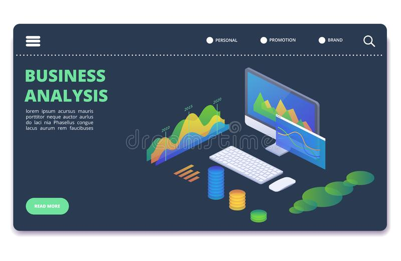 Business statistics charts, diagrams vector concept. Financial analytics banner template royalty free illustration