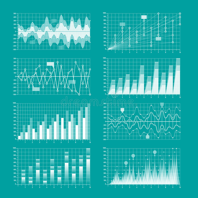 Business statistics. Charts and graphs infographic elements stock illustration