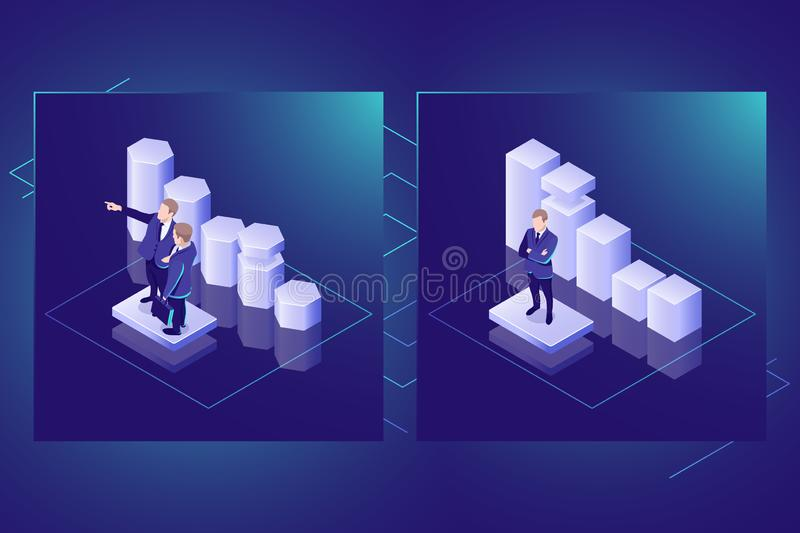 Business statistics and data analysis isometric vector icon, data visualization, teamwork leader, dark neon stock illustration