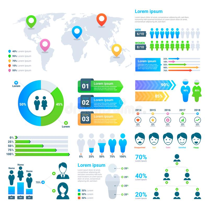 Business statistics graph, demographics population chart, people modern infographic. Vector elements stock illustration