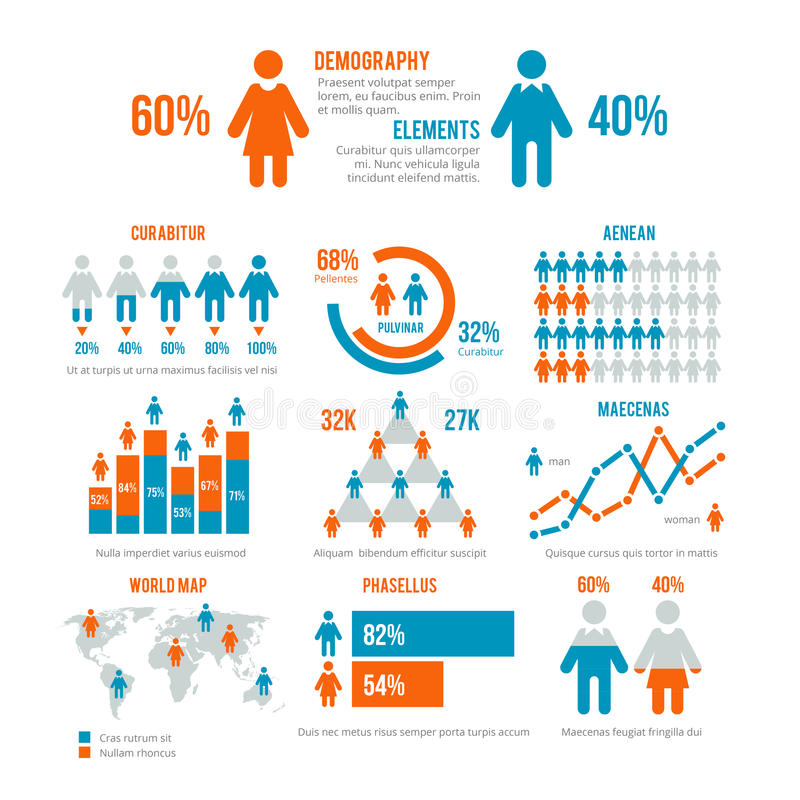 Business statistics graph, demographics population chart, people modern infographic vector elements royalty free illustration