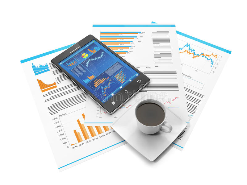 Business Statistics On Your Mobile Phone Royalty Free Stock Photography