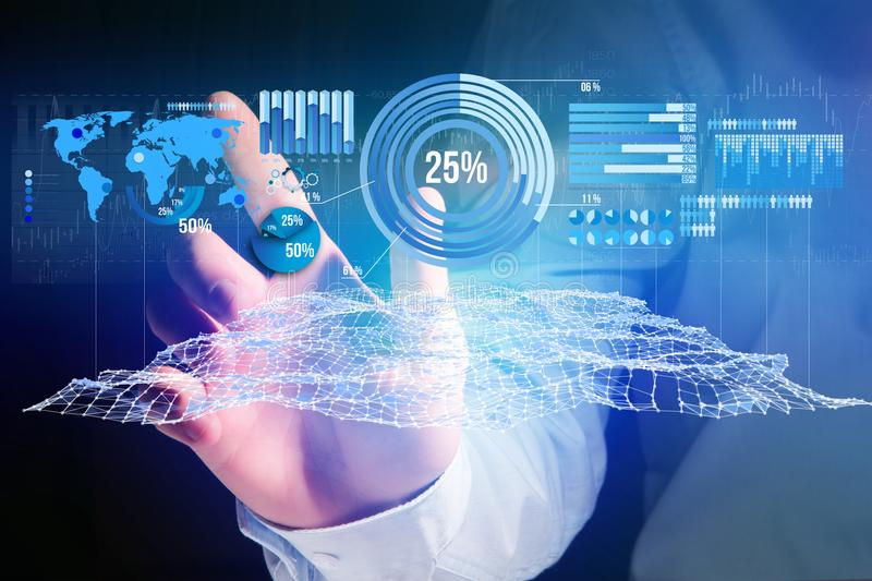 Business stats displayed as graph and chart on a futuristic interface - Business concept. View of a Business stats displayed as graph and chart on a futuristic stock image