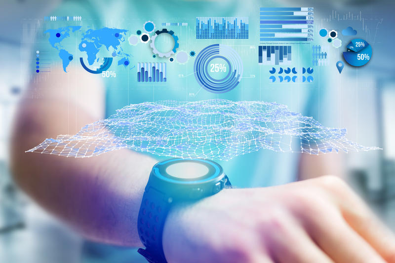 Business stats displayed as graph and chart on a futuristic interface - Business concept. View of a Business stats displayed as graph and chart on a futuristic royalty free stock image