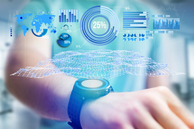 Business stats displayed as graph and chart on a futuristic interface - Business concept. View of a Business stats displayed as graph and chart on a futuristic stock images