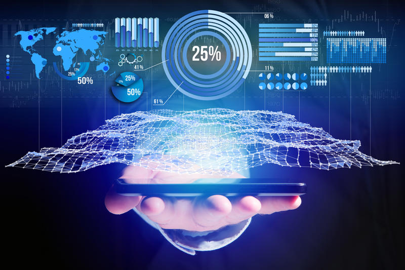 Business stats displayed as graph and chart on a futuristic interface - Business concept. View of a Business stats displayed as graph and chart on a futuristic royalty free stock photography