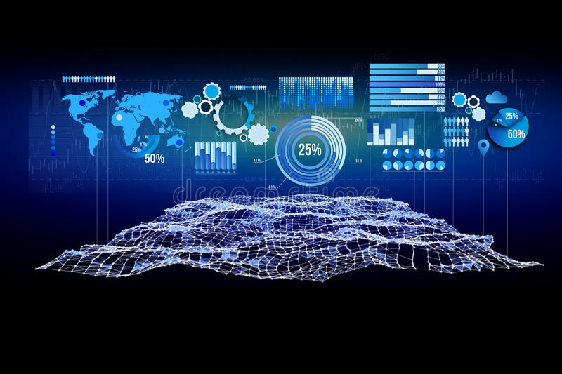 Business stats displayed as graph and chart on a futuristic interface - Business concept. View of a Business stats displayed as graph and chart on a futuristic royalty free stock photo