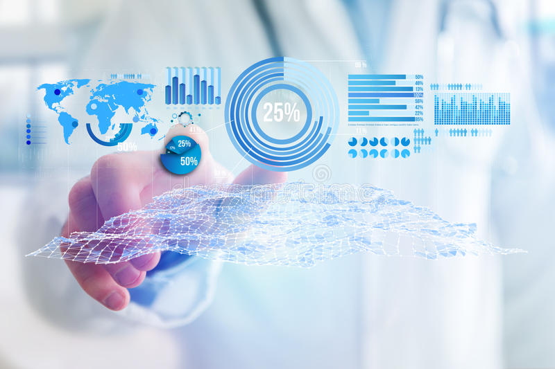 Business stats displayed as graph and chart on a futuristic interface - Business concept. View of a Business stats displayed as graph and chart on a futuristic stock photography