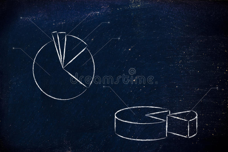 Business stats: pie chart graph. Pie chart with space for text royalty free illustration