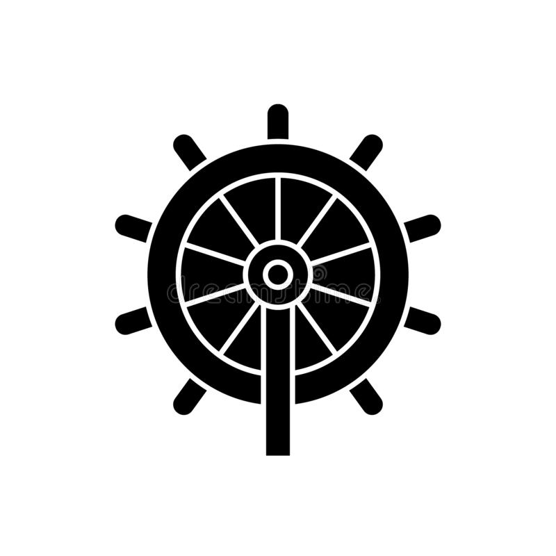 Business steering wheel black vector concept icon. Business steering wheel flat illustration, sign. Symbol royalty free illustration